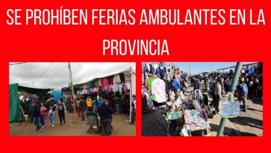 SE PROHÍBE LA INSTALACIÓN DE FERIAS AMBULANTES EN LA PROVINCIA